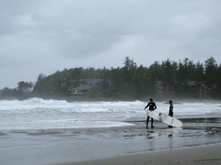 surf's up on Chesterman Beach, with The Wick in the background